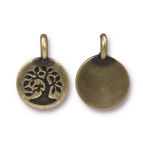 Tree Charm, Oxidized Brass Plate, 20 per Pack