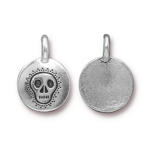 Skull Charm, Antiqued Silver Plate, 20 per Pack
