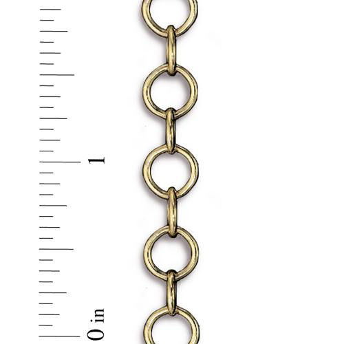 Round Brass Cable Chain 10mm, Antiqued Gold Plate, 1 per Pack