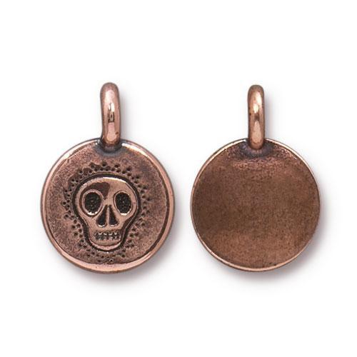Skull Charm, Antiqued Copper Plate, 20 per Pack
