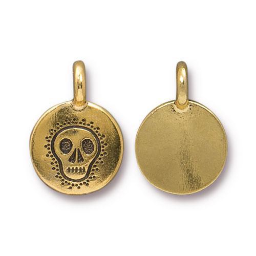 Skull Charm, Antiqued Gold Plate, 20 per Pack