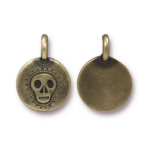 Skull Charm, Oxidized Brass Plate, 20 per Pack