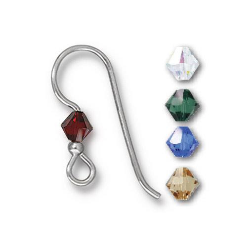French Hook Ear Wire with 2mm Bead and Holiday Color Mix 4mm Bicone Crystal, Sterling Silver, 50 per Pack