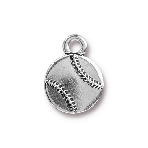 Baseball Charm, Antiqued Silver Plate, 20 per Pack