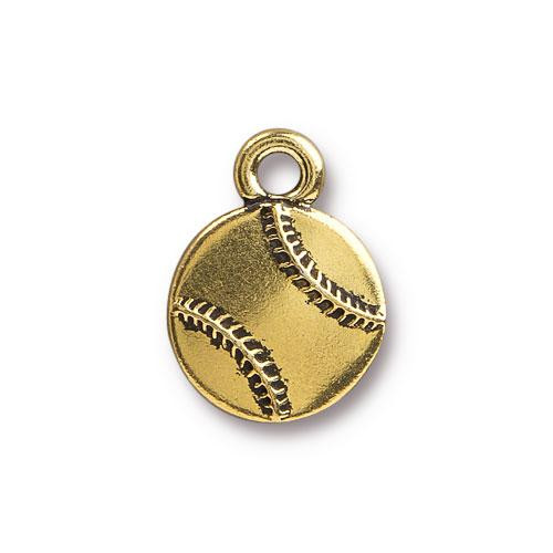 Baseball Charm, Antiqued Gold Plate, 20 per Pack