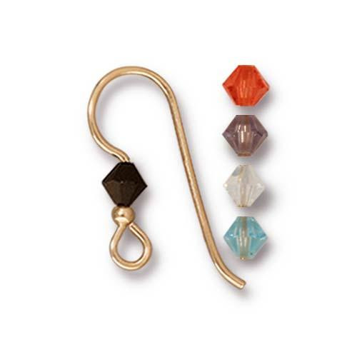 French Hook Ear Wire with 2mm Bead and Mixed 4mm Bicone crystal, 14/20 Gold Filled, 50 per Pack