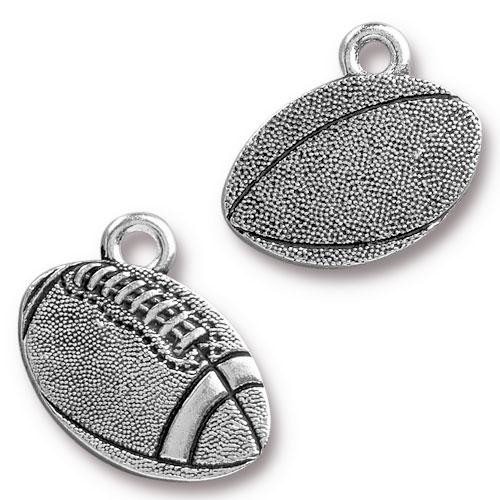 Football Charm, Antiqued Silver Plate, 20 per Pack