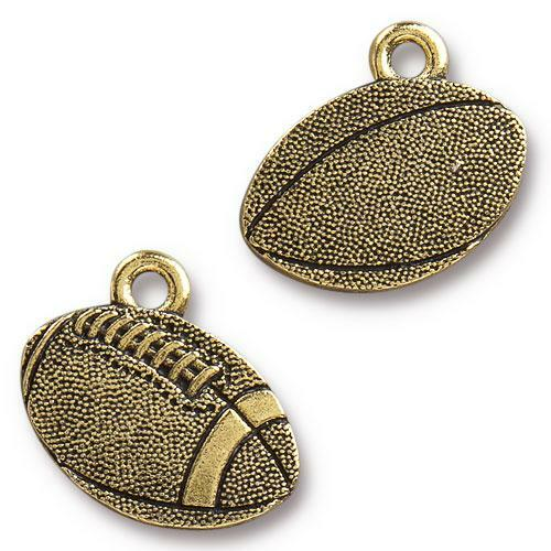 Football Charm, Antiqued Gold Plate, 20 per Pack