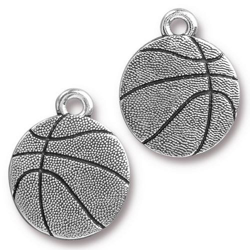 Basketball Charm, Antiqued Silver Plate, 20 per Pack