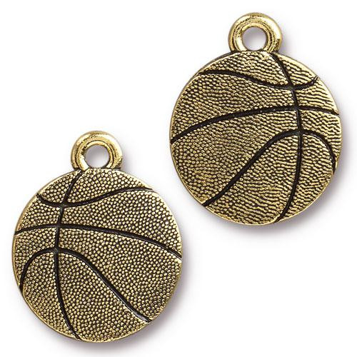 Basketball Charm, Antiqued Gold Plate, 20 per Pack