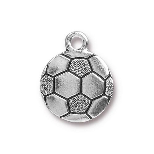 Soccer Ball Charm, Antiqued Silver Plate, 20 per Pack