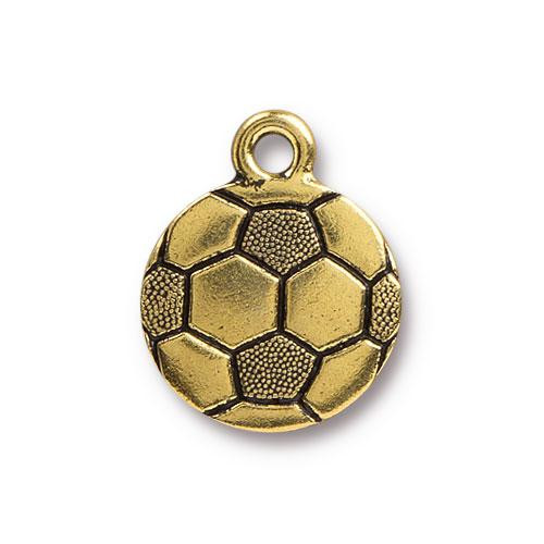 Soccer Ball Charm, Antiqued Gold Plate, 20 per Pack