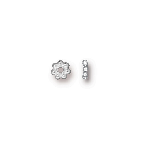 Beaded 4mm Daisy Spacer Bead, Silver Plate, 500 per Pack