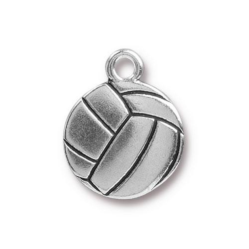 Volleyball Charm, Antiqued Silver Plate, 20 per Pack