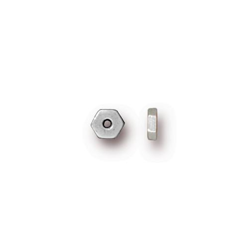 Hexagonal 4mm Spacer Bead, Silver Plate, 500 per Pack