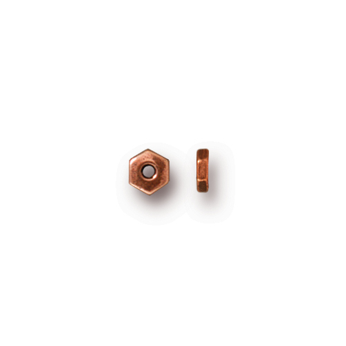 Hexagonal 4mm Spacer Bead, Antiqued Copper Plate, 500 per Pack