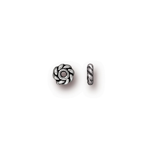 Twisted 4mm Spacer Bead, Antiqued Silver Plate, 500 per Pack
