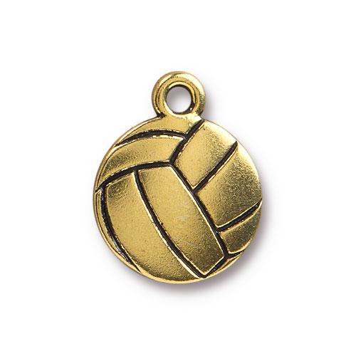 Volleyball Charm, Antiqued Gold Plate, 20 per Pack