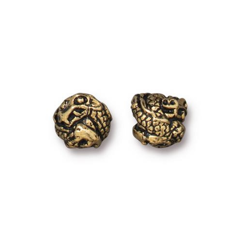 Dragon Bead, Antiqued Gold Plate, 20 per Pack