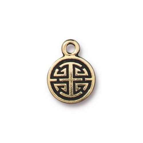Chinese Lu Charm, Antiqued Gold Plate, 20 per Pack