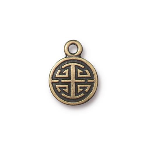 Chinese Lu Charm, Oxidized Brass Plate, 20 per Pack