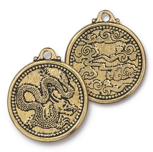 Dragon Coin Pendant, Antiqued Gold Plate, 10 per Pack