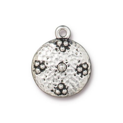 Opulence Charm, Antiqued Silver Plate, 10 per Pack