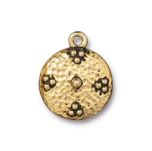 Opulence Charm, Antiqued Gold Plate, 10 per Pack
