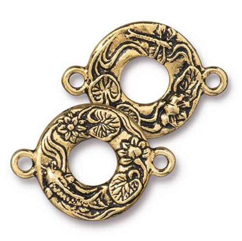 Koi Link, Antiqued Gold Plate, 10 per Pack