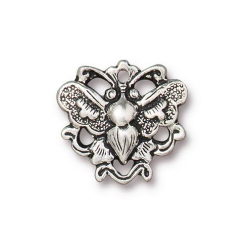 Butterfly Link, Antiqued Silver Plate, 20 per Pack