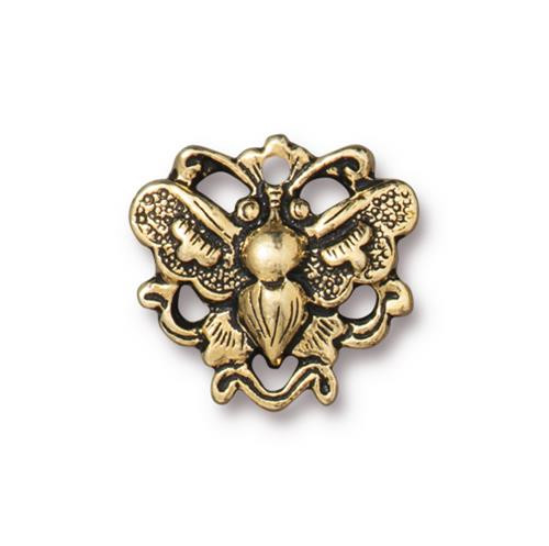 Butterfly Link, Antiqued Gold Plate, 20 per Pack