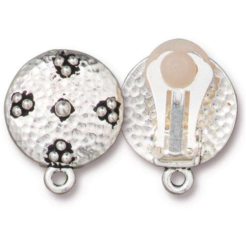 Opulence Clip-on Earring, Antiqued Silver Plate, 6 per Pack