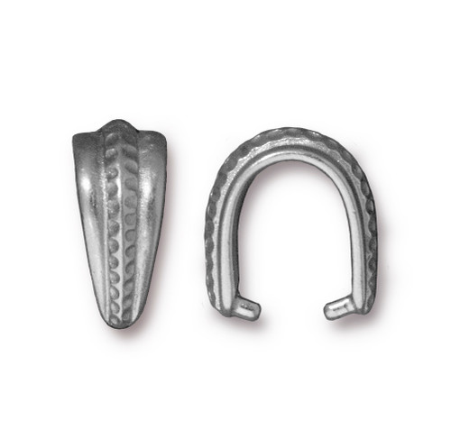 Large Hammertone Pinch Bail, Antiqued Pewter, 20 per Pack
