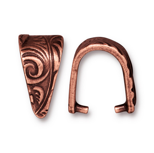 Large Jardin Pinch Bail, Antiqued Copper Plate, 20 per Pack