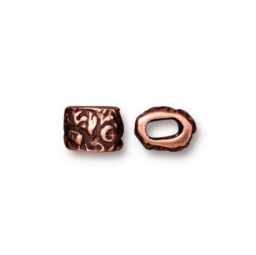 Jardin Barrel Bead, Antiqued Copper Plate, 20 per Pack