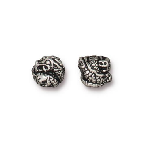 Dragon Bead, Antiqued Silver Plate, 20 per Pack