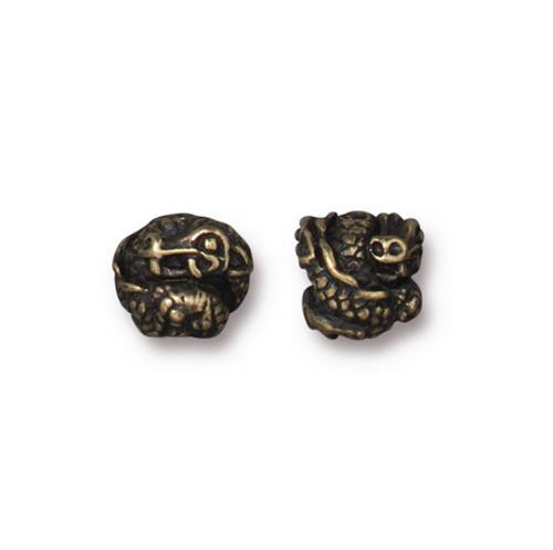 Dragon Bead, Oxidized Brass Plate, 20 per Pack