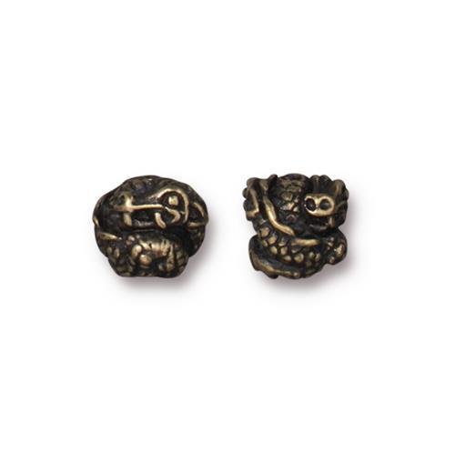 Dragon Bead, Oxidized Brass Plate, 20 per Pack