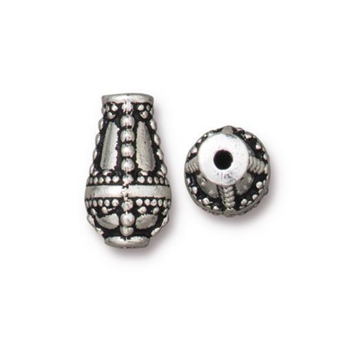 Opulence Teardrop Bead, Antiqued Silver Plate, 10 per Pack