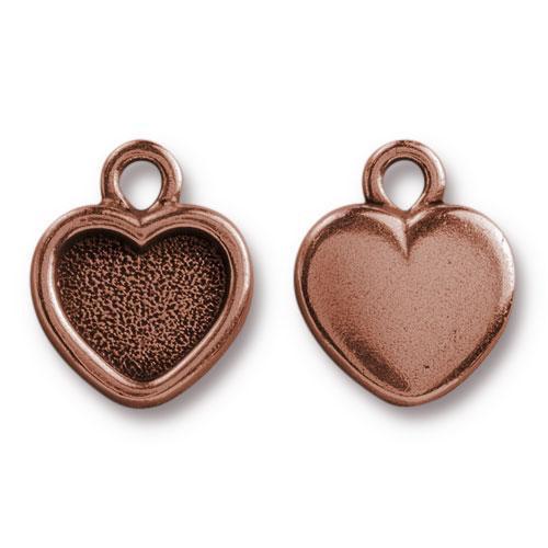 Heart Bezel Drop, Antiqued Copper Plate, 20 per Pack