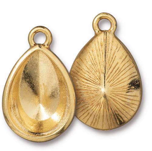 Plain 18x13mm Pear Bezel Drop, Gold Plate, 10 per Pack