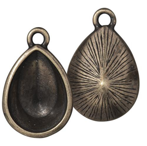 Plain 18x13mm Pear Bezel Drop, Oxidized Brass Plate, 10 per Pack
