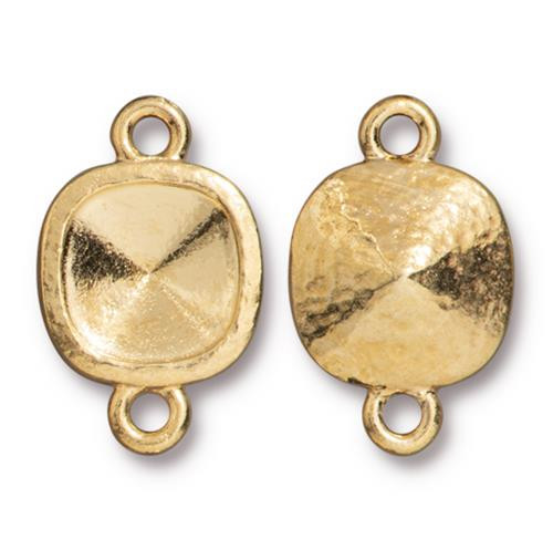 Hammered 10mm Cushion Bezel Link, Gold Plate, 20 per Pack