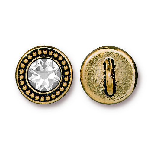 Beaded Button Bezel with Swarovski® Crystal, Antiqued Gold Plate, 6 per Pack