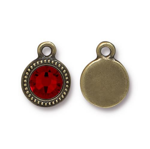 Siam Beaded Drop, Oxidized Brass Plate, 10 per Pack