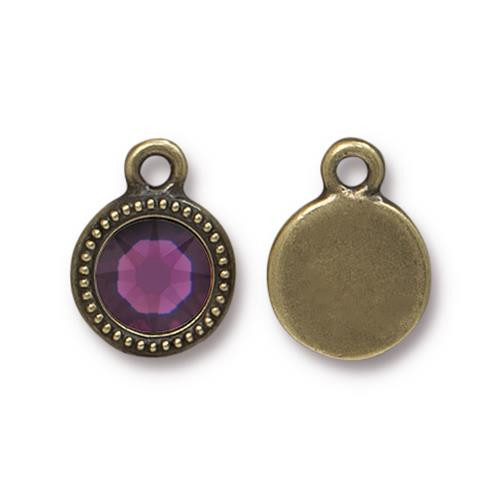 Amethyst Beaded Drop, Oxidized Brass Plate, 10 per Pack