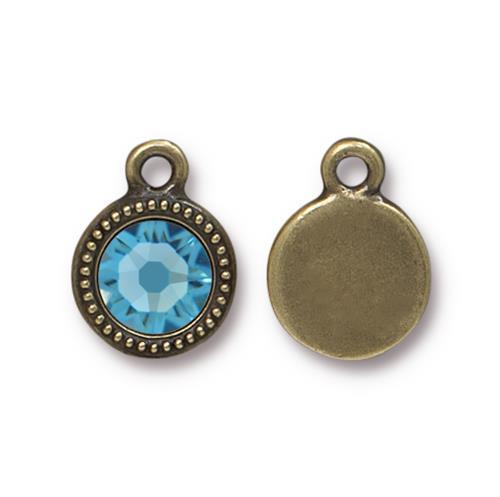 Aquamarine Beaded Drop, Oxidized Brass Plate, 10 per Pack