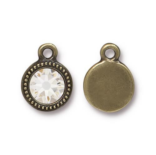 Crystal Beaded Drop, Oxidized Brass Plate, 10 per Pack