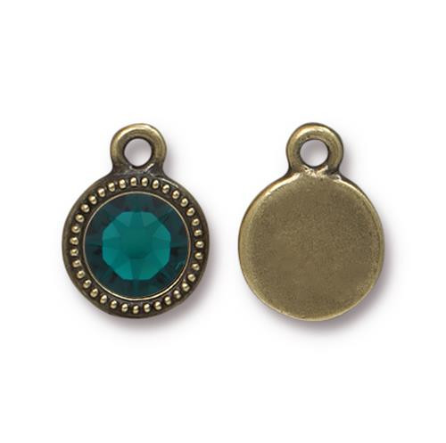Emerald Beaded Drop, Oxidized Brass Plate, 10 per Pack