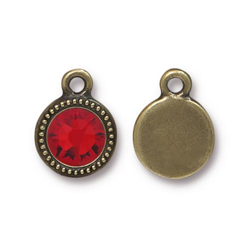 Lt Siam Beaded Drop, Oxidized Brass Plate, 10 per Pack